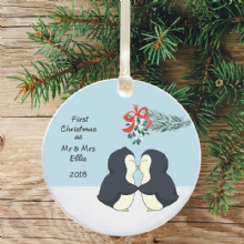 First Christmas as Mr & Mrs Keepsake Decoration - Penguin Design